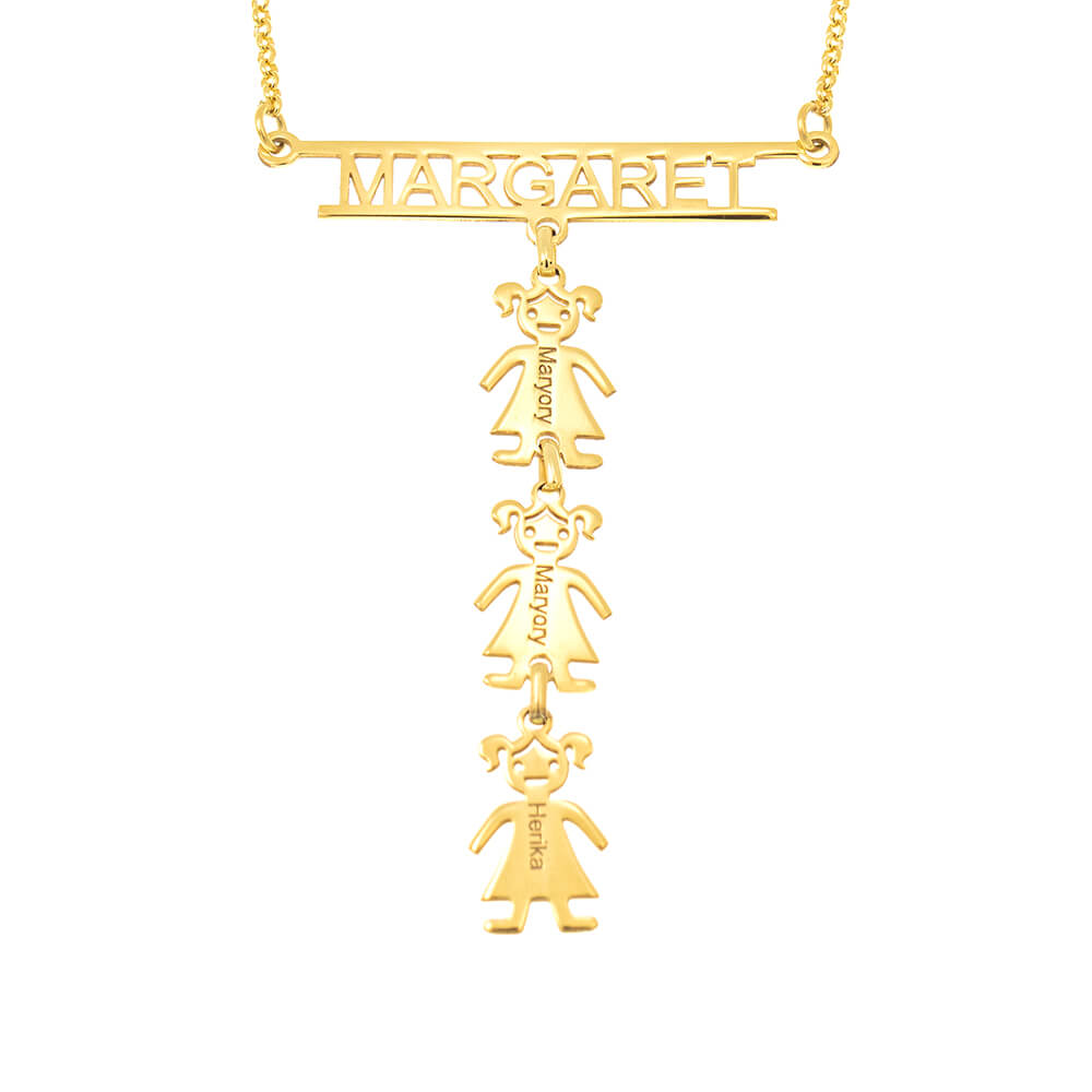 Cut Out Bar Name Necklace With Kids gold