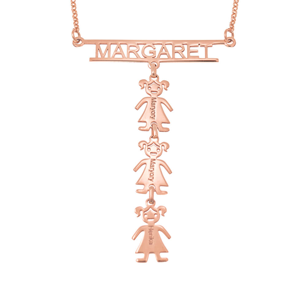 Personalized Cut Out Bar Name Necklace With Kids 18k Rose Gold Plating Over 925 Sterling Silver Solo Mio Italian Jewelry