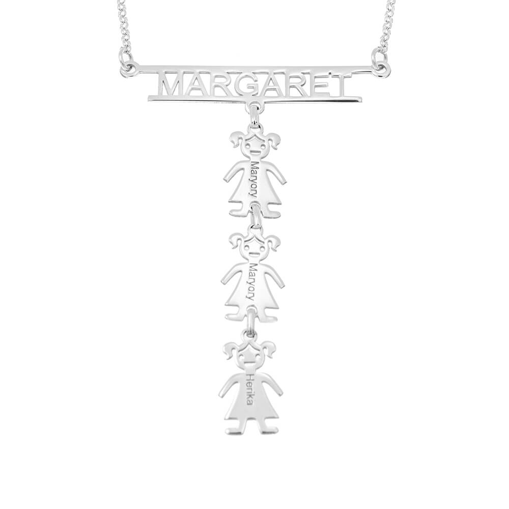 Cut Out Bar Name Necklace With Kids silver