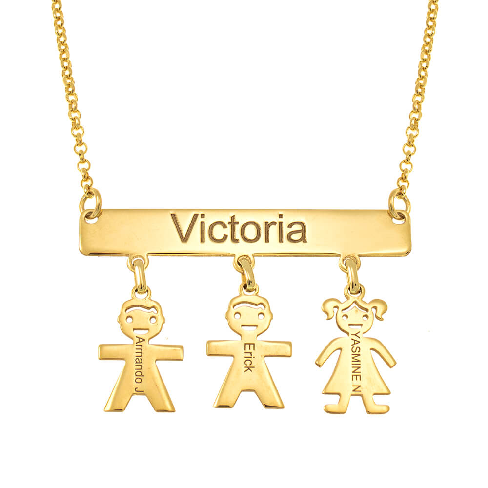 Engraved Bar Necklace With Kids gold