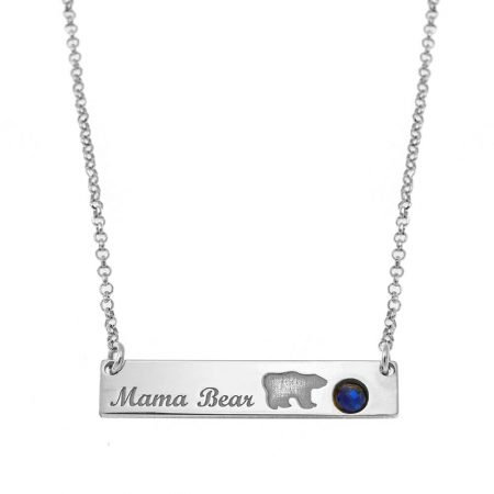 Family Mama Bear Bar Necklace