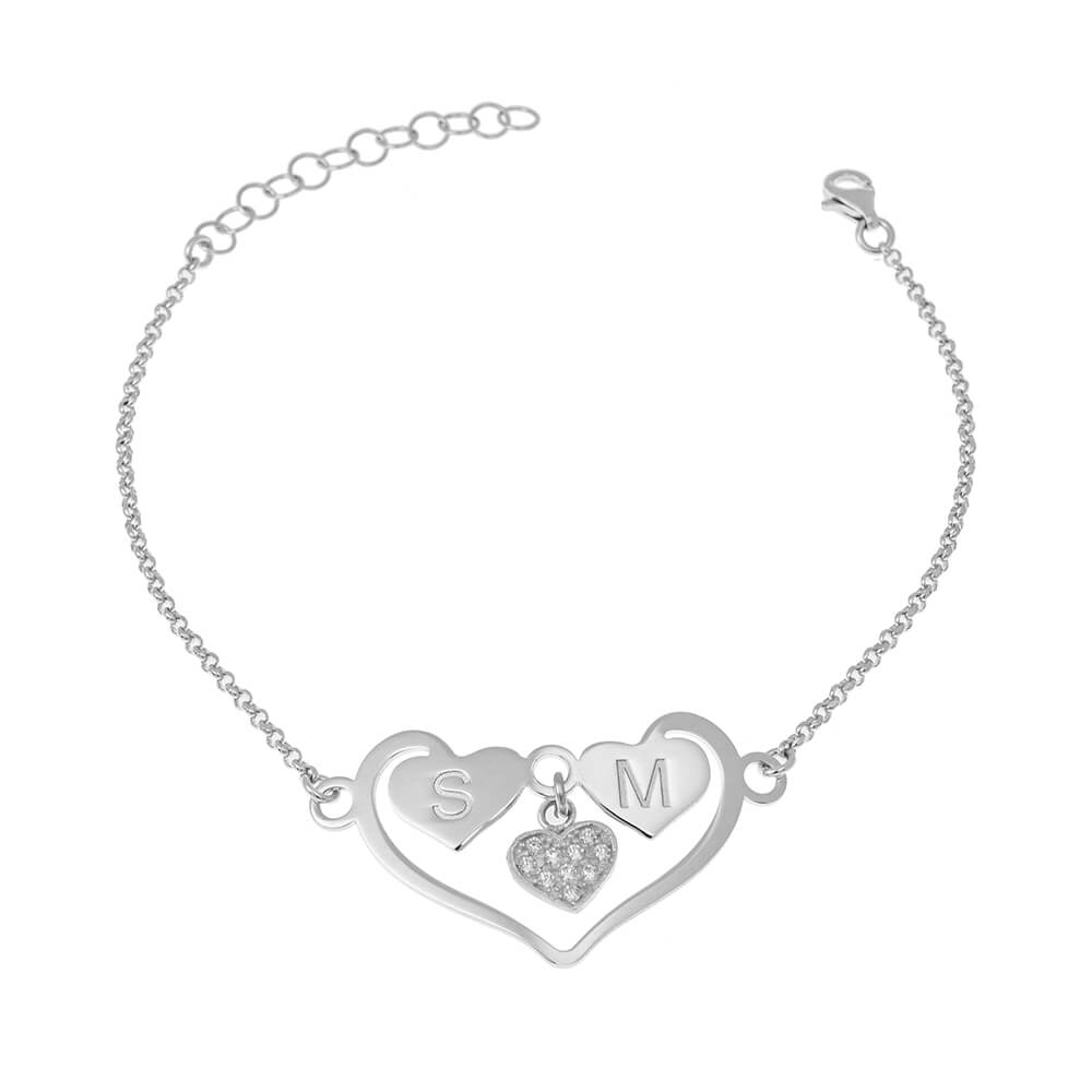 Heart Bracelet With Initials silver