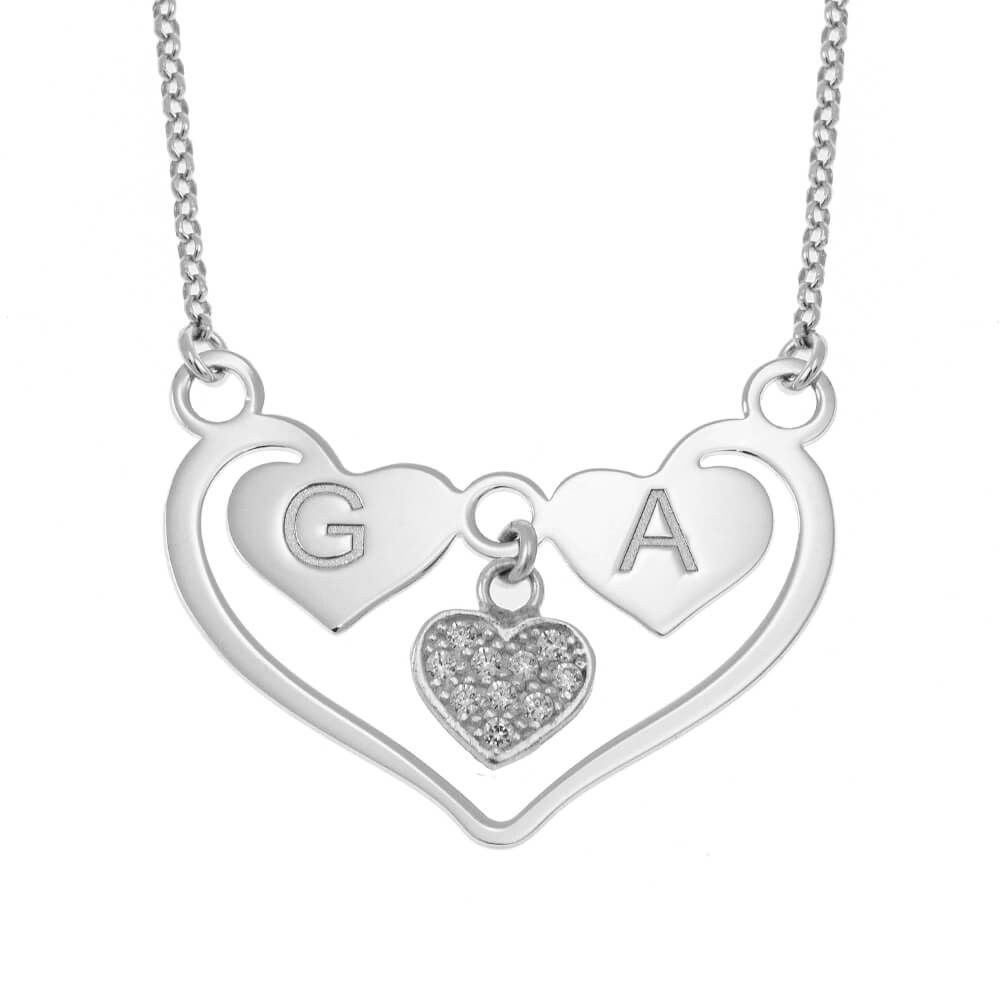 Heart Necklace With Initials silver
