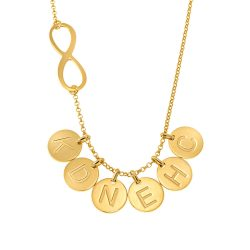 Infinity Necklace with Disc Initial Charm gold