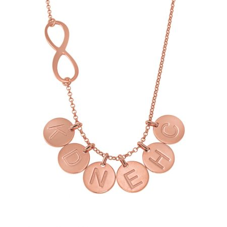 Infinity Necklace with Disc Initial Charm