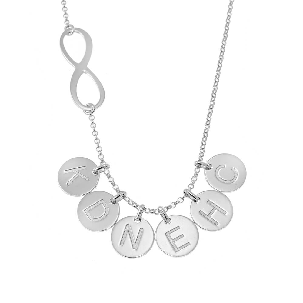 Infinity Necklace with Disc Initial Charm silver