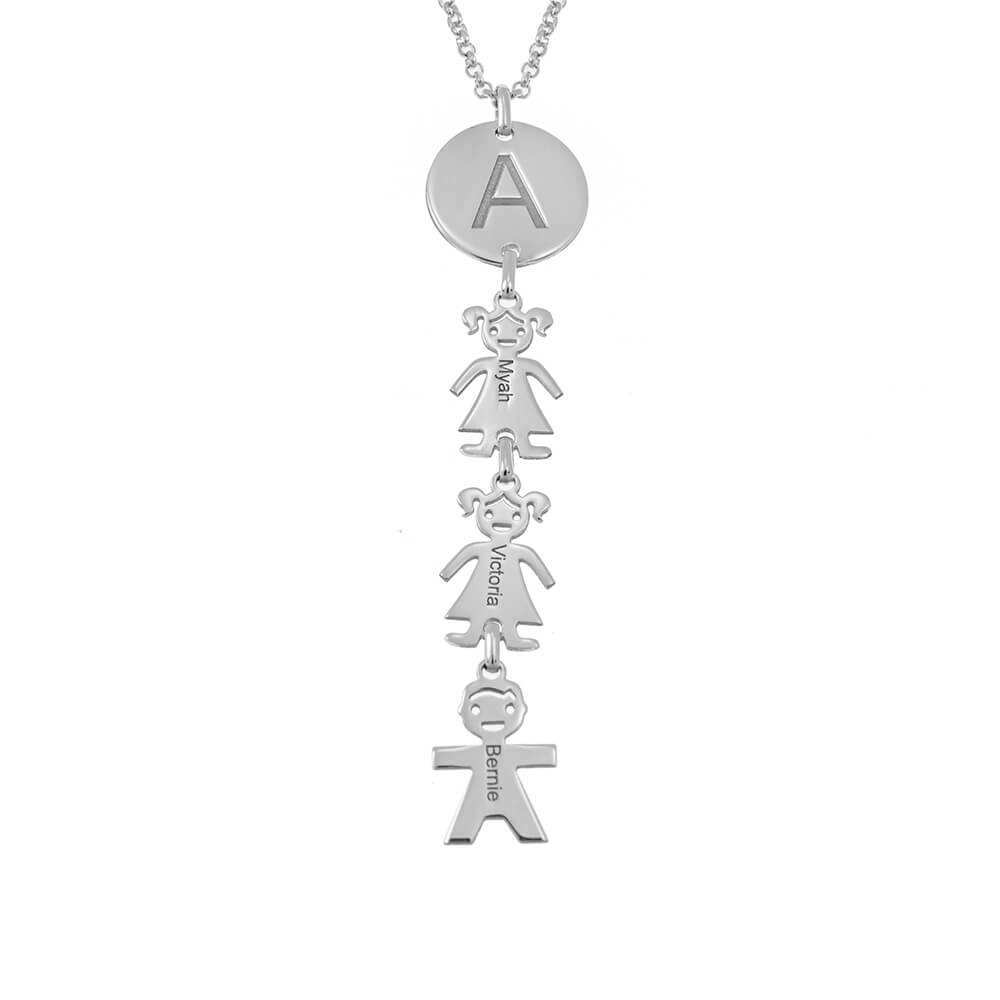 Round Tag Letter Necklace With Kids silver