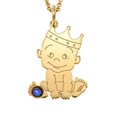 Baby King Initial Necklace with Birthstone