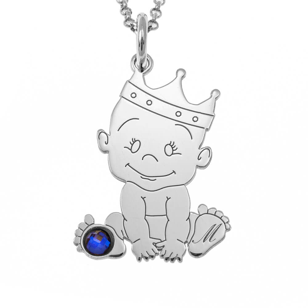 Baby King Initial Necklace With Birthstone silver