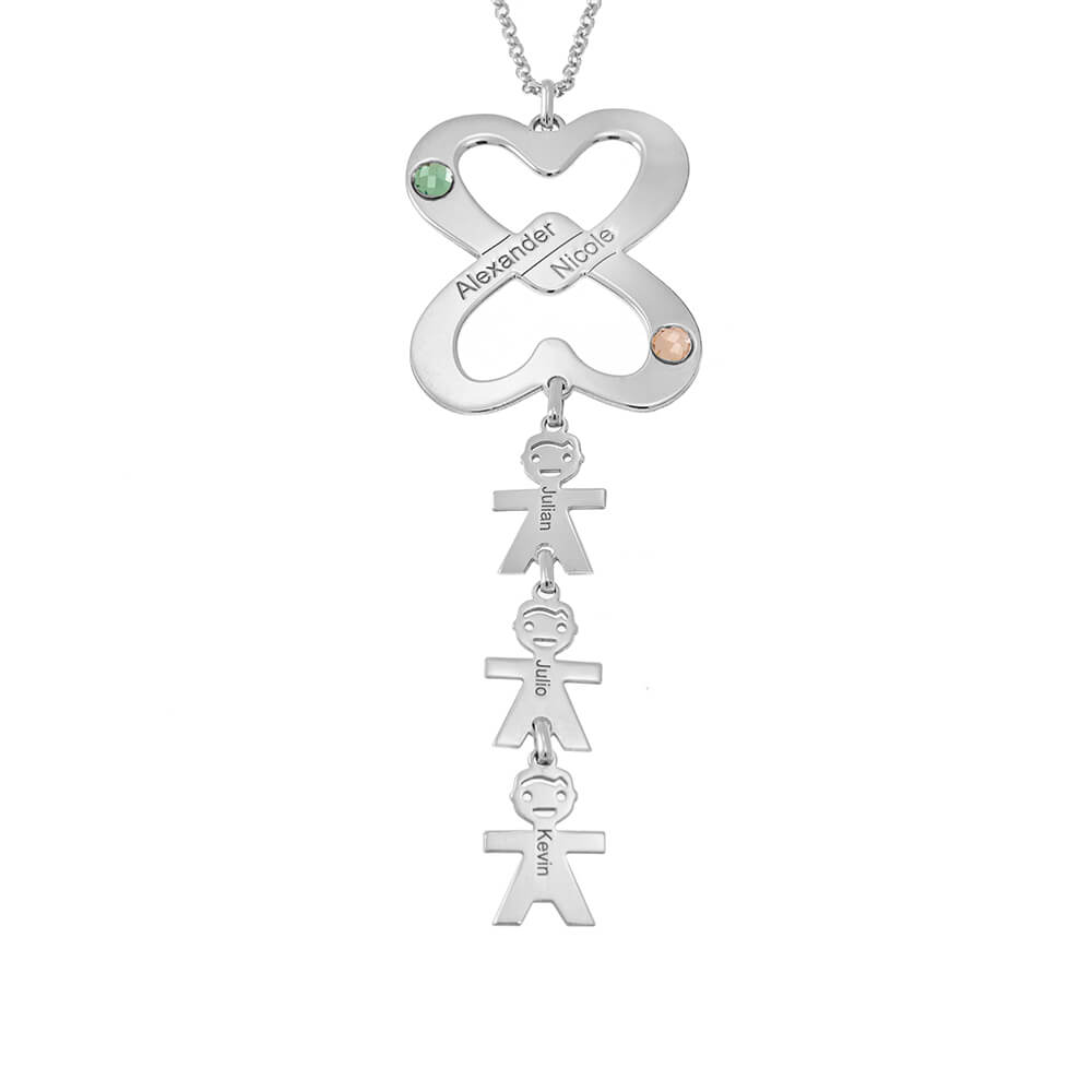 Combined Double Hearts Necklace with Kids silver