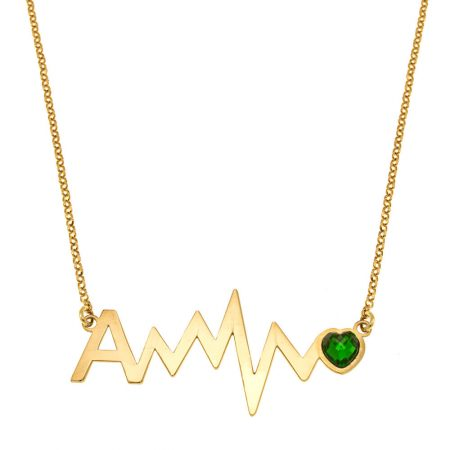Initial Heartbeat Necklace with Birthstone
