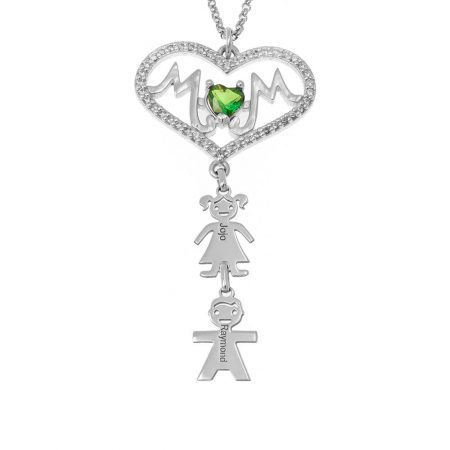 Swarovski Inlay Big Heart Mum Necklace With Kids