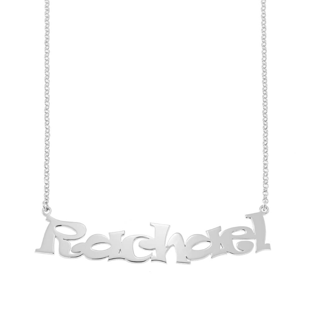 Cartoon Ravie Font Name Necklace silver