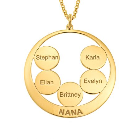 Circle Discs Engraved Nana Necklace