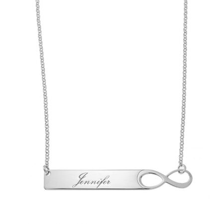 Infinity Bar Necklace with Engraving