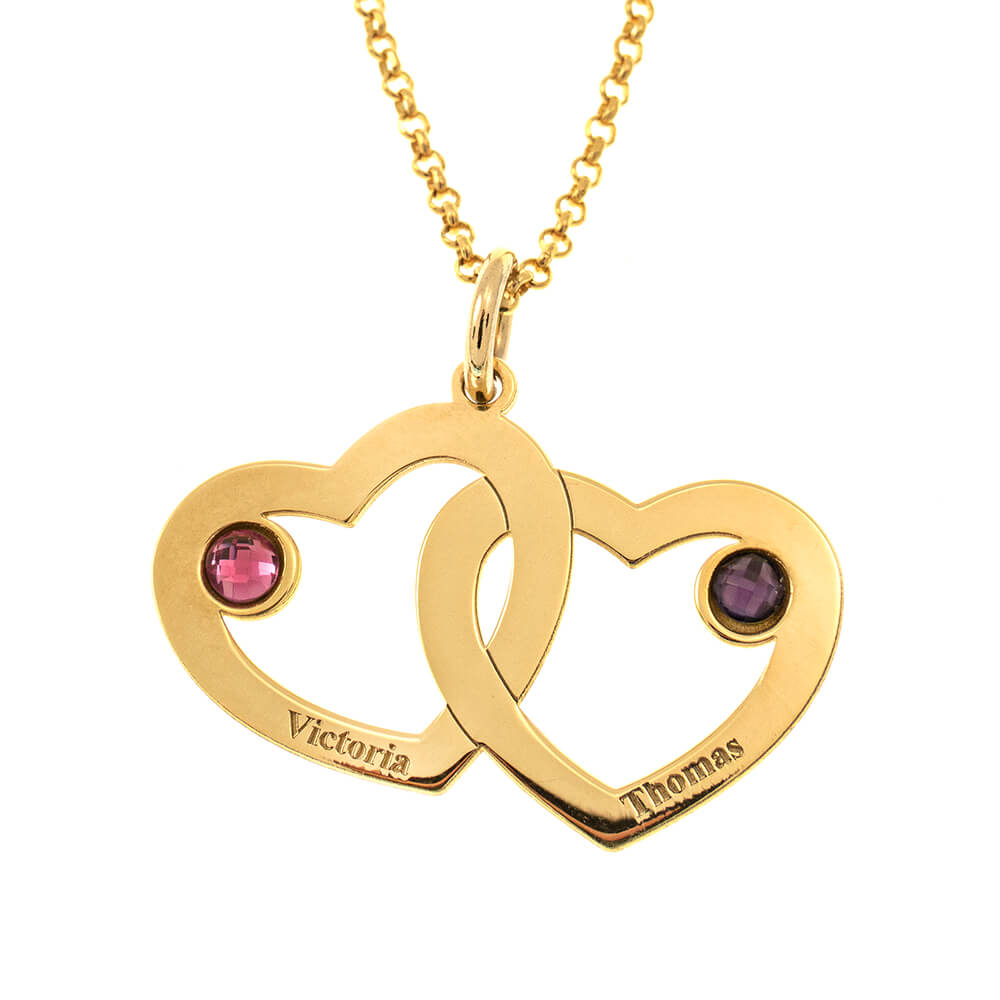 Interwined Hearts Name Necklace With Birthstones gold