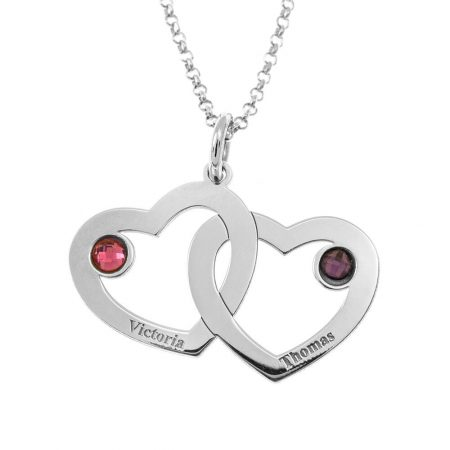 Intertwined 2 Hearts Name Necklace with Birthstones