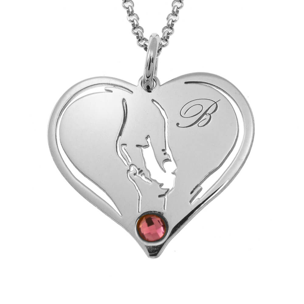 Mother And Baby Hands In Heart Necklace silver