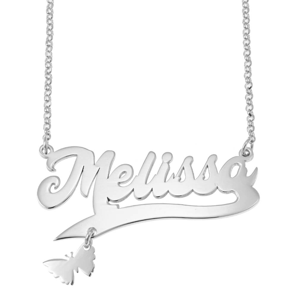 Custom Name Necklace with Butterfly silver