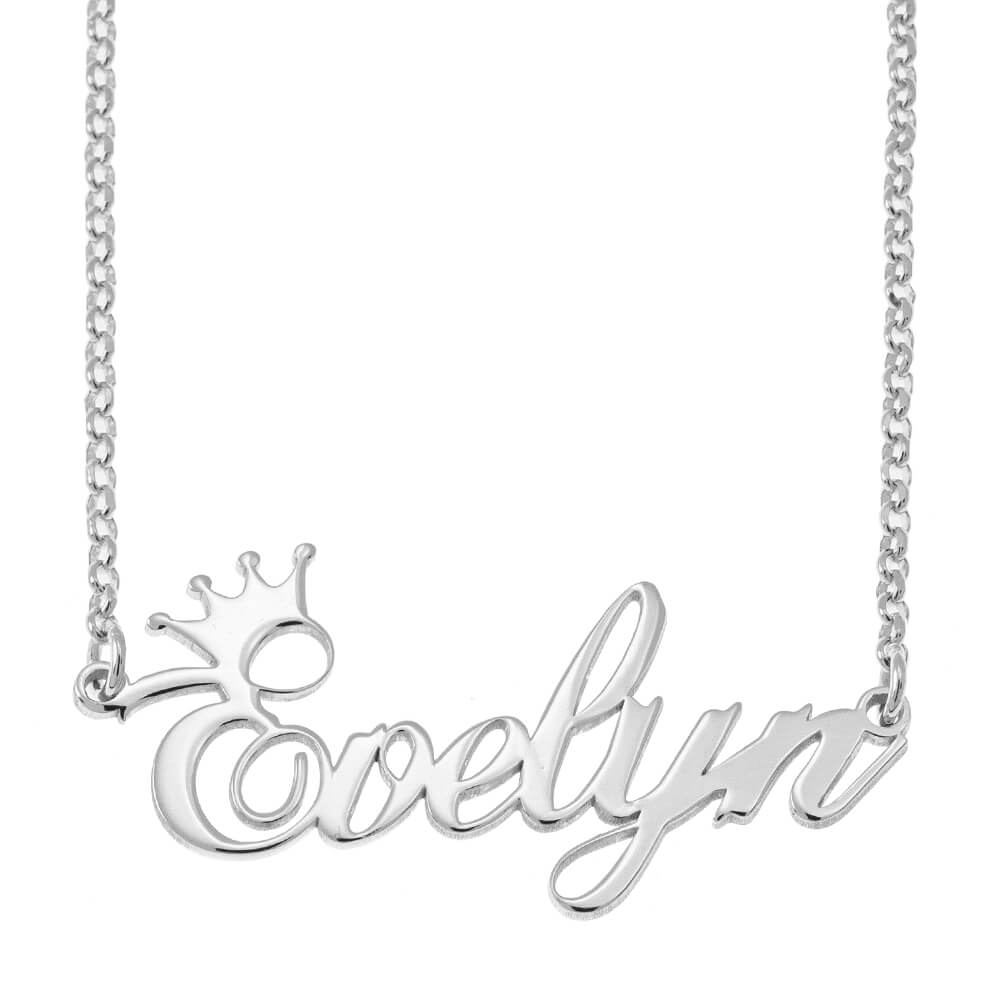 Custom Name Necklace with Crown silver