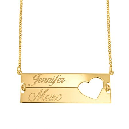 Cut out Heart Double Bar Necklace
