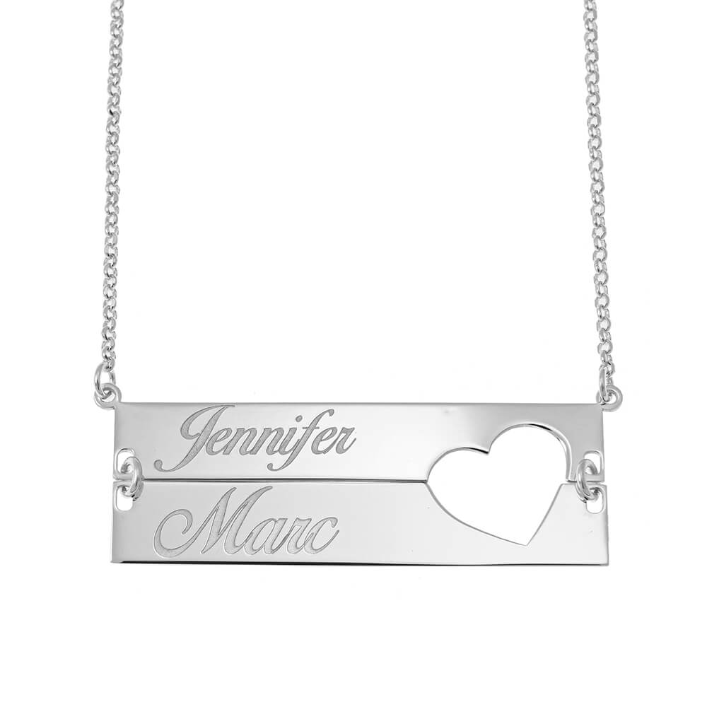 Cut out Heart Double Bar Necklace silver