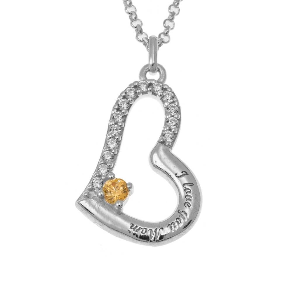 I Love You Mum Necklace with Birthstone silver