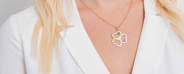 Heart necklace on a Solo Mio Jewellery model