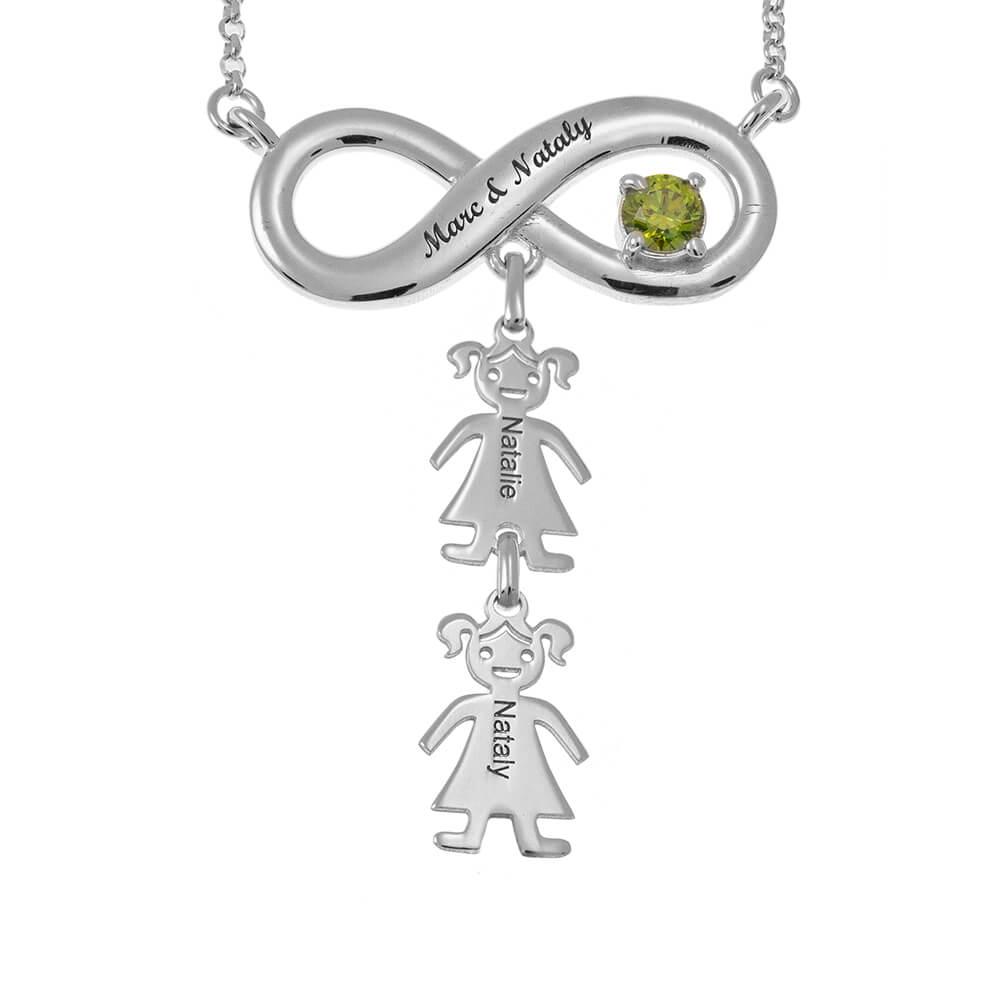 Infinity Necklace with Birthstone and Kids silver